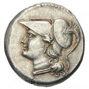 Head of Athena wearing a Corinthian helmet