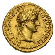 Gold aureus issued by Tiberius