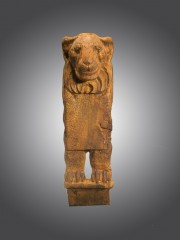 Egyptian wood furniture leg with lion form