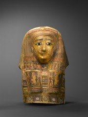 Polychrome and gilt cartonnage mask